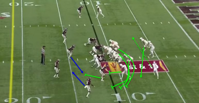 There's a lot going on, but the two guards and the tight end will be setting the edge for Richard.