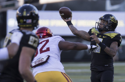 Vernon Adams turned in a historic 400+ yard 6 TD performance against USC