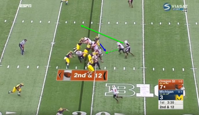 The defensive end doesn't stay home, making it a very easy read for the quarterback.