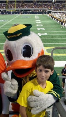 Gavynn Harmon with the Duck at LSU game.