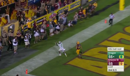 Did he actually get a foot down? Who cares! Ducks win!
