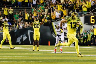 Devon Allen runs for touchdown after catch.