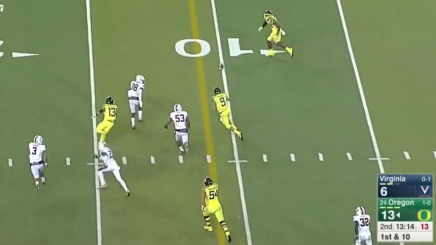 Prukop runs the zone read pitch option against Virginia